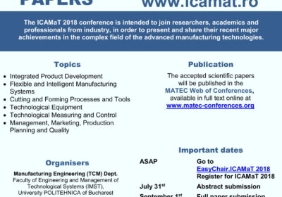9th International Conference on Advanced Manufacturing Technologies